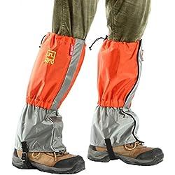 Polainas Impermeables WINOMO nieve pierna polainas para senderismo escalada caza 1 par (Naranja)
