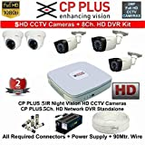 #5: CP PLUS 8-CHANNEL DVR KIT WITH 2-TB HARD DISK , 2-PC 2.4MP DOME CAMERA , 3-PC 2.4MP BULLET CAMERA, 8-CH POWER SUPPLY ,WITH BNC/DC CONNECTORS & WIRE ROLL COMBO PACK.