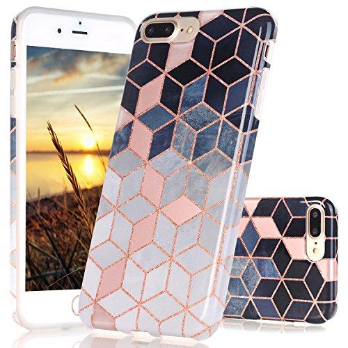 JIAXIUFEN iPhone 7 Plus Hülle, Shiny Rose Gold Gradient Cubes Design Flexible TPU Silikon Schutz Handy Hülle Handytasche HandyHülle Case Cover Tasche Schutzhülle für Apple iPhone 7 Plus/iPhone 8 Plus