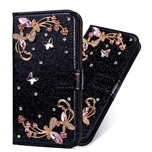 Bookstyle Bling Hülle für Huawei P30 Lite,Glitter Glitzer Diamond Musterg Slim Retro Klassisch Modisch Magnet Ledertasche Stand Funktion Kartenfach Magnetverschluss Flip Wallet Schutzhülle