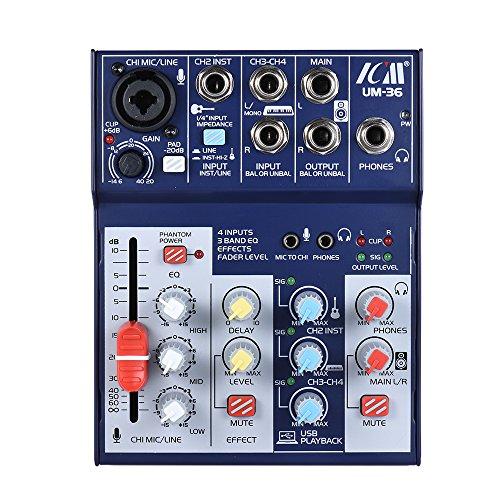 ammoon Mischpult Digitaler ICM UM-36 Kompakte 4-Kanal-Soundkarte Audio-Mixer Unterstützt 5V Power Bank USB-Netzteil Eingebauter 48V Phantomspeisung 3-Band EQ mit Volume Fader zur Aufnahme