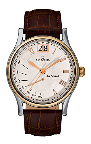 GROVANA 1729.1552 Men's Quartz Swiss Watch with Silver Dial Analogue Display and Brown Leather Strap