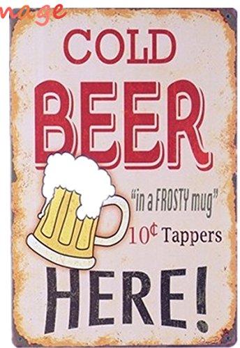 Cerveza fría en una jarra helada Vintage Tin firmar bar pub inicio Decoración de pared Retro Metal Póster de Arte