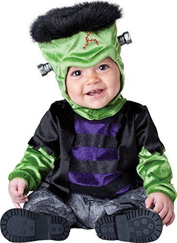 Deluxe Monster, Baby Mädchen/Jungen, Motiv: Halloween-Frankenstein, Buch Tag im Zeichen Kostüm Outfit - Schwarz, 6-12 Months (Frankenstein Anzug)