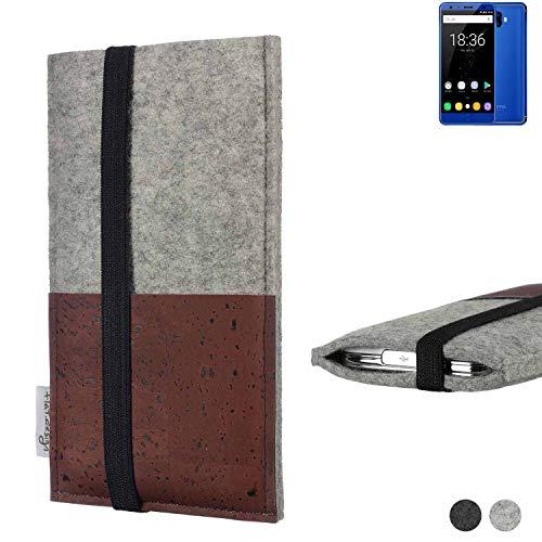 flat.design Handy Hülle Sintra für Oukitel K8000 Handytasche Filz Tasche Schutz Kartenfach Case braun Kork