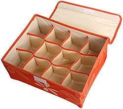 UberLyfe 12 Cell Drawer Closet Divider Storage Box with Lid (Color: Orange) - Clearance Sale - UW-000169-ORWL12C