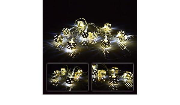 LED 10er Lichterkette Cube Dekokette Würfel LED Tischdekoration Leuchtdeko
