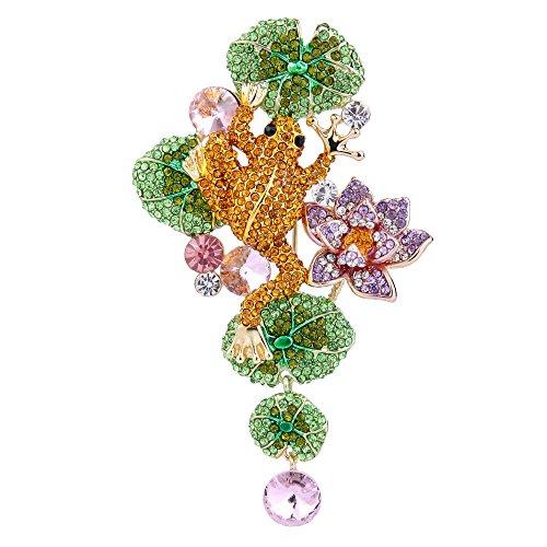 Flyonce Österreichischer Kristall Schöne Frosch Lotus Blume Blatt Brosche Braun w/Grün Gold-Ton -