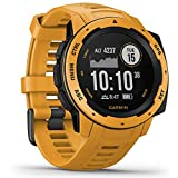 Garmin Instinct - wasserdichte Sport-Smartwatch mit Smartphone Benachrichtigungen und Sport-/Fitnessfunktionen mit GPS, 14 Tage Akkulaufzeit, Gelb