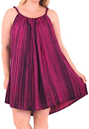 LA LEELA Rayon Badebekleidung Hand tie dye beiläufigen kurzen Strandkleid Abend Kaftan verschleiern lila