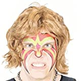 Ultimate Wrestler Extreme Warrior Makeup Temporary Tattoo Wig & Armbands Costume Set