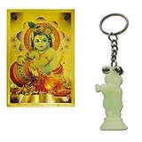 Ratnatraya Combo of Lord Krishna Playing Flute Keychain & Bal Krishana Wallet Pocket Card For Spiritual Protection   Key Ring Charm For Love Luck and Positive Energy