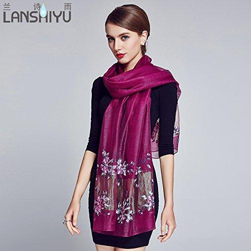 Écharpe châle femmes et deux à l'automne et hiver laine broderie de soie foulard en soie ethnique Inde écharpe fil Dons , les fleurs de cerisier en poudre Aubergine
