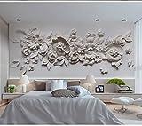 Wh-Porp 3D Große Wandbild Gips Relief Blume 3D Tapete Wandbild 3D Foto Wandbild Tapete Für Schlafzimmer Sofa Hintergrund Wandverkleidung-300Cmx210Cm