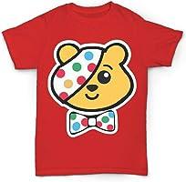 Kids Boys Girls Children in Need Super Hero Pudsey Bear T Shirts UK Size 3-12 Years