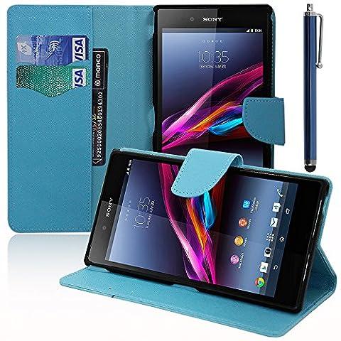 VComp-Shop® Kunststoff Handy Brieftasche mit Kartenfächer und Video-Standfunktion für Sony Xperia Z Ultra XL39H + Großer Eingabestift - HELLBLAU