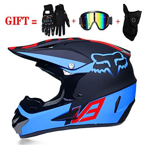 QSWSW BMX Helm Fahrrad Bestehen Sie die D.O.T-Straße Zertifizierung Inklusive Sonnenblende/rote Reiterhandschuhe/Windmaske (L (56~57), Blau)
