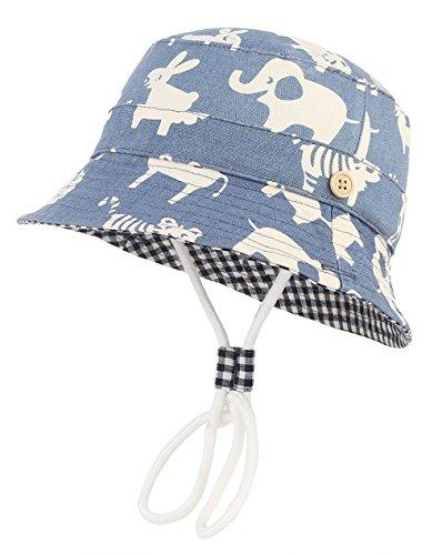DEMU Baby Kleinkinder Fischerhut Strandhut Sommerhut Sonnenschutz Kappe Mütze (Tier, Hut Umfang ()