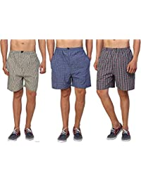 DILLIHART Men's Cotton Shorts (Pack of 3)