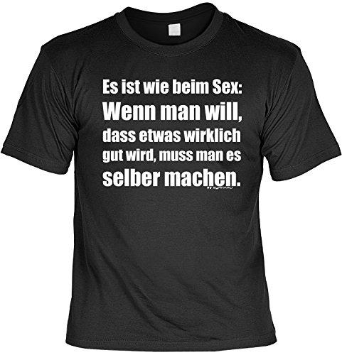 Witziges Spaß-Shirt + gratis Fun-Urkunde: Es ist wie beim Sex: Schwarz