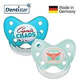 Dentistar® Silikon Schnuller 2er Set inkl. 2 Schutzkappen - Nuckel für Babys Größe 3, ab 14 Monate – Captain Chaos & Bus