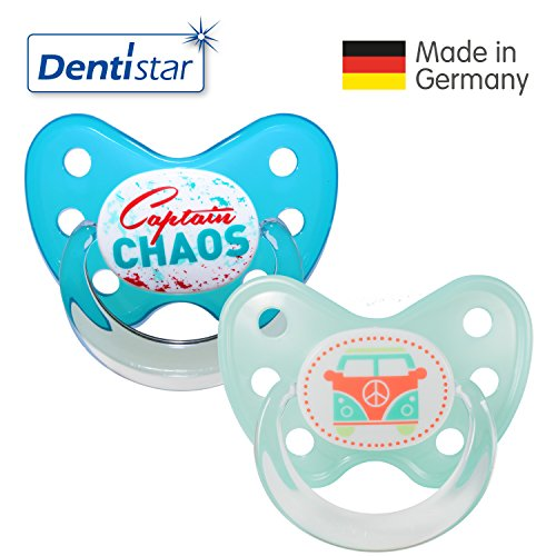 Preisvergleich Produktbild Dentistar® Silikon Schnuller 2er Set inkl. 2 Schutzkappen - Nuckel für Babys Größe 3, ab 14 Monate – Captain Chaos & Bus