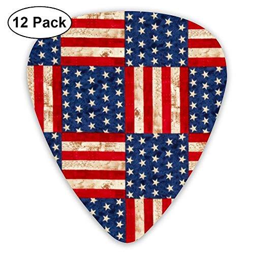 Creative American Flag Guitar Picks for Electric Guitar 12 Pack
