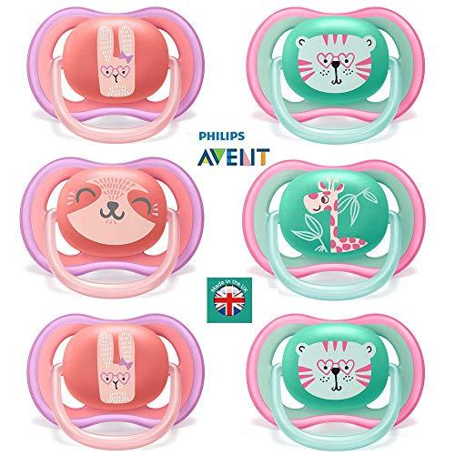 Philips avent avent ciuccio 18+, 6 unità, pack fir girls 18 mesi+, 3 x confezione per la sterilizzazione e il trasporto