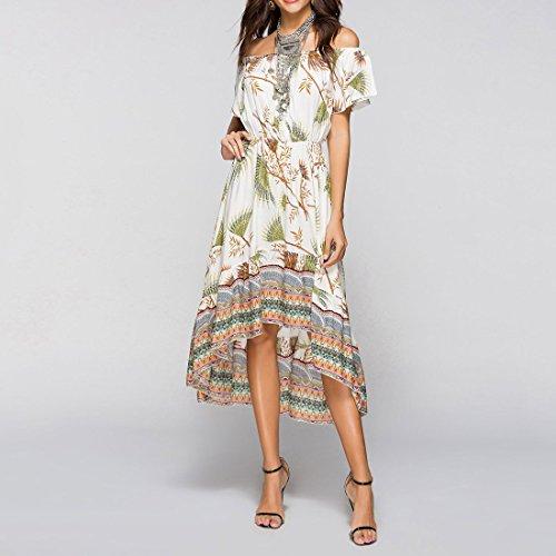 2018 Nouvelles Femmes Dété Midi Dress, Hawaii Décontracté Floral Hors Épaule Bateau Cou Une Ligne Haute Bas Irrégulière Hem Swing Dress Couleur 3