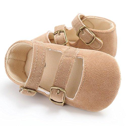 MiyaSudy Neugeborenen Baby Mädchen Schuhe Solide Weiche Sohle Rutschfeste Krippe Schuhe Erste Wanderer 0-18 Monate Lauflernschuhe Krabbelschuhe Khaki