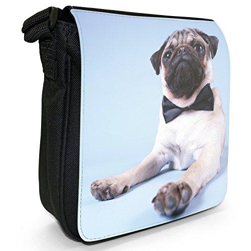 Mops Möpse Liebe kleine Hunde Kleine Schultertasche aus schwarzem Canvas James Mops 007 schwarze Fliege