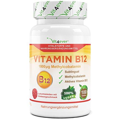 Vitamin B12 1000 µg, 100 Tabletten, aktives Vitamin B12 als Methylcobalamin, Lutschtabletten mit Himbeere Geschmack, vegan, Methyl, hochdosiert mit 1000 mcg, Vit4ever