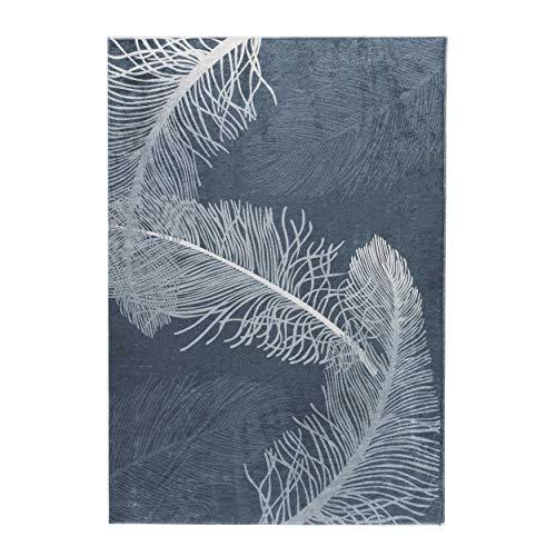 Moderner Teppich Kurzflor in Dunkelblau anthrazit Grau Federmuster waschbar bei 30°C ,rutschhemmend und mit Latexrücken (120x170cm) -