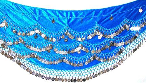 Samt Bauch Tanz Hüfte Schal Münze & Perle Gürtel Wrap UK FITS S M L XL bis 4XL PLUS GRÖSSE (UK 8 - 24), TURQ SILVER, S to M UK (Größe Kostüme 22/24)
