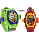 AQUARAS Chotta Beem And Angry Bird Projector Watch For Boys And Girls (24 Images)- Pack Of 2