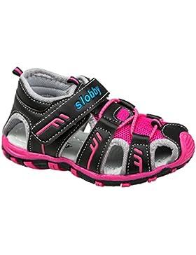GIBRA® Trekkingsandalen für Kinder, mit Klettverschluss, schwarz/pink, Gr. 25-36