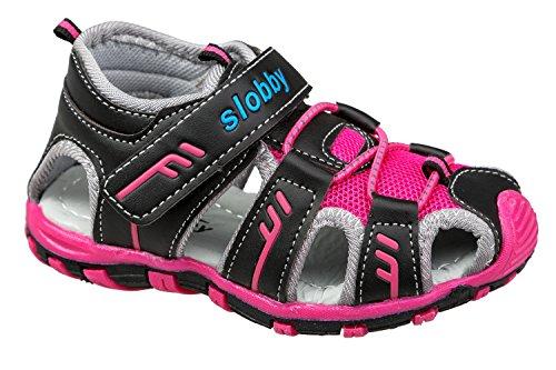 GIBRA® Trekkingsandalen für Kinder, mit Klettverschluss, schwarz/pink, Gr. 28
