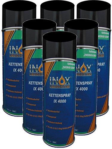 INOX Kettenspray IX 4000, 6 x 400ml - Kriechöl für Fahrrad und Motorrad