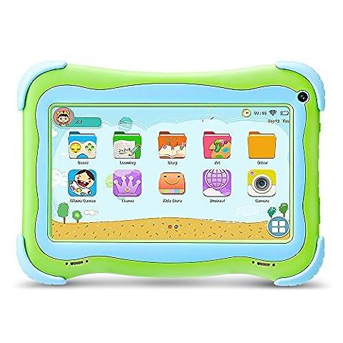 Yuntab Q91 Tablette enfant 7 pouces Allwinner A33 HD 1024 X 600 Tablette PC Android 5.1 8 Go WiFi intégré Iwawa logiciel Youtube Jeux Éducatif (vert)