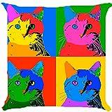 Kissenbezug Werfen Kissen Fall 45,7cm Pop Art Colorful Cat Kitten Cute Kitty Pet Verspielte beide Seiten Bild Reißverschluss