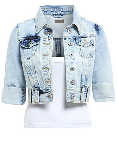 SS7 NEU Damen Distressed Jeansjacke, Size 6 - 16 - Jeans hellblau, 54 (Denim Jacke Jean Distressed)