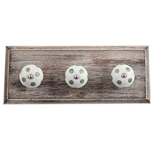 Dot Robe (indianoshelf handgefertigt Kunst von Holz weiß Smoky grün Dot Wand Robuster Haken FOR Robe Mantel Towel Schlüssel Bags Haus Küche mit Schrauben)