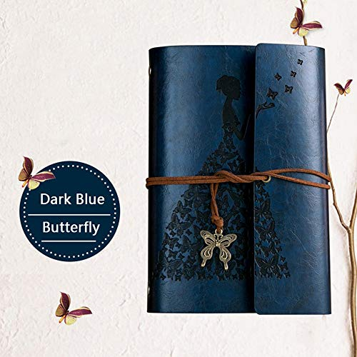 Diary notebook Butterfly Girl note Book replaceable Traveler Notepad Book PU leather cover Blank notebook Journal Diary blue
