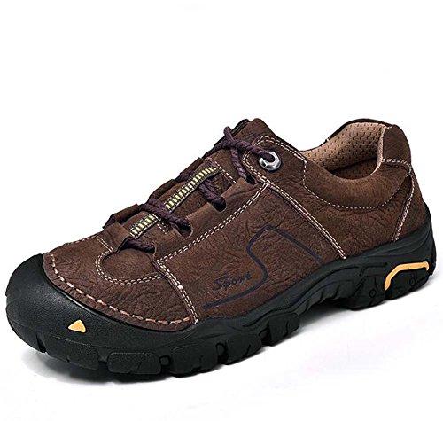 Pattini da trekking all'aperto da uomo scarpe da tennis in pelle vera pelle antiscivolo Pochette da sport casual in pizzo Eu Size 38-44 Brown