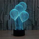 Yhden 3D optische Täuschungen LED-Lampen, 7 Farben ändern Acryl Touch Button Tisch Schreibtisch Nachtlicht mit 150 cm USB-Kabel für Kinder Geschenke (Ballon)