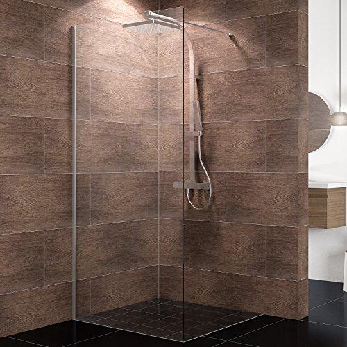 duschwand freistehend Schulte Duschwand Walk-In Dallas, 100 x 200 cm, 8 mm Sicherheits-Glas klar, Profile chrom-optik, Duschabtrennung für Duschwanne oder Fliese