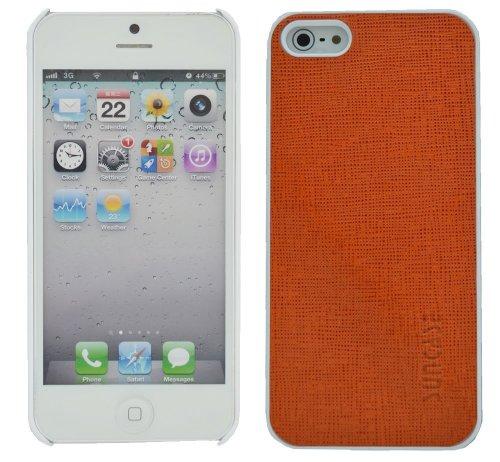 Suncase Étui de protection pour Apple iPhone 5/5S/avec languette d'extraction orange (full grain)