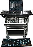 XXL Special Edition Werkstattwagen Werkzeugwagen grau - 6 von 7 Schubladen gefüllt mit Werkzeug - rollbar