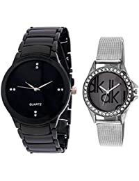 Rjcreation Leather-Metal Dk Analog Black And White Dial Men's And Women's Watch Combo - M-ik-BK & W-DK(BD)
