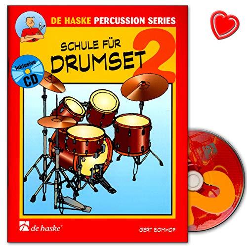 Schule für Drumset Band 2 - grundlegende Techniken und Regeln - 9789043110099 mit bunter herzförmiger Notenklammer